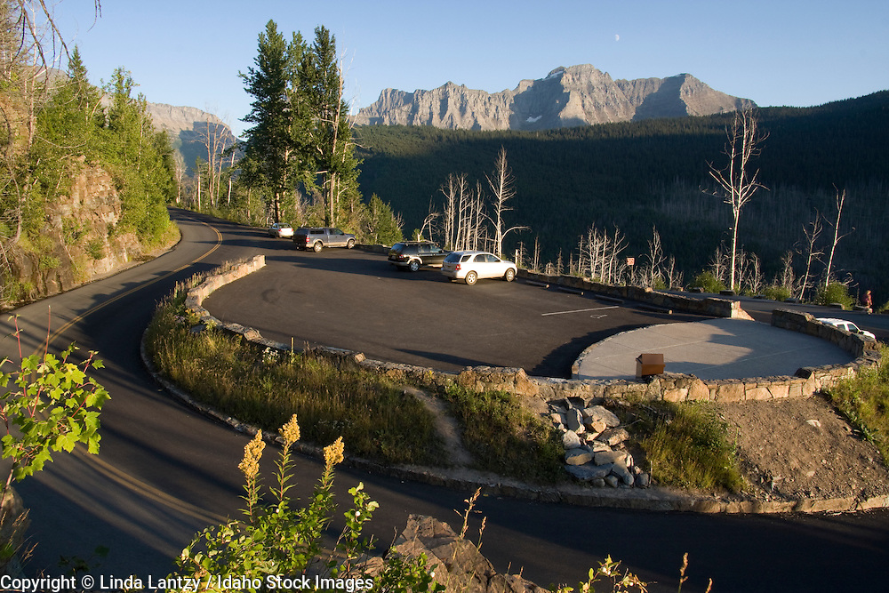 Montana, Glacier National Park.  The Loop, a sharp switchback on the West side of Logan Pass on the Going to the Sun Road and parking area for hikers and backpackers.