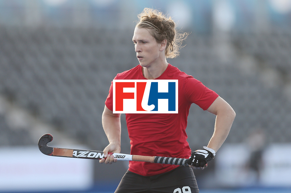 LONDON, ENGLAND - JUNE 16:  Taylor Curran of Canada during the Hero Hockey World League semi final match between Pakistan and Canada at Lee Valley Hockey and Tennis Centre on June 16, 2017 in London, England.  (Photo by Alex Morton/Getty Images)