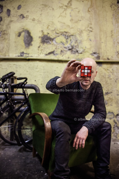 Switzerland, Zurich: swiss artist Roland Roos and his swiss Rubik's cube, the swiss cross never change, no matter how you switch the cube.