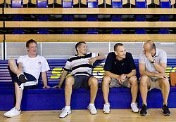 Coach Jure Zdovc (R) with ex-Assistant coaches Gasper Kolman, Zoran Martic and Gasper Potocnik at first practice session of KK Union Olimpija in new season 2010/2011 on August 23, 2010, in Arena Tivoli, Ljubljana, Slovenia.  (Photo by Vid Ponikvar / Sportida)