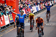 Arrival, Men Road Race 230,4 km, Matteo Trentin (Italy), Mathieu Van Der Poel (Netherlands), Wout Van Aert (Belgium), during the Cycling European Championships Glasgow 2018, in Glasgow City Centre and metropolitan areas, Great Britain, Day 11, on August 12, 2018 - Photo Luca Bettini / BettiniPhoto / ProSportsImages / DPPI - Belgium out, Spain out, Italy out, Netherlands out -