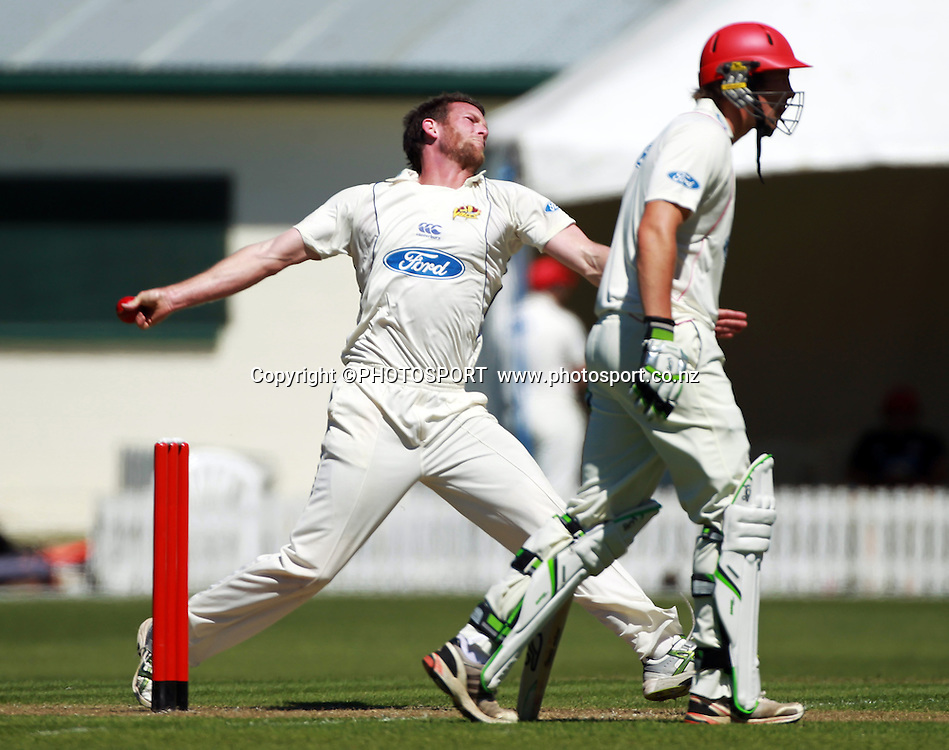 Otago bowler Ian butler during play on the first day of the first game of the season. Canterbury Wizards v Otago Volts, Plunket Shield Game held at Mainpower Oval, Rangiora, Monday 07 November 2011. Photo : Joseph Johnson / photosport.co.nz