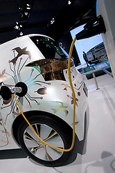 Plug in electric concept car by Toyota being recharged at Frankfurt Motor Show 2009