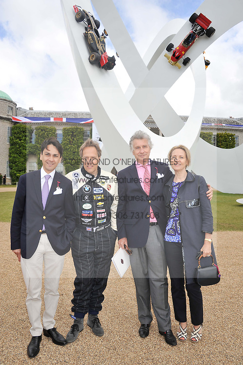 Left to right, FRANCOIS LE TROQUER, The EARL OF MARCH, ARNAUD BAMBERGER and CARLA BAMBERGER at a luncheon hosted by Cartier for their sponsorship of the Style et Luxe part of the Goodwood Festival of Speed at Goodwood House, West Sussex on 1st July 2012.