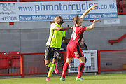 York City forward Emile Sinclair and Crawley Town defender, on loan from Birmingham City, Mitch Hancox  during the Sky Bet League 2 match between Crawley Town and York City at the Checkatrade.com Stadium, Crawley, England on 31 October 2015. Photo by Simon Davies.