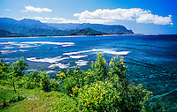 View from Princeville Resort to Hanalei Bay, north shore of Kaua'i, Hawaii, USA