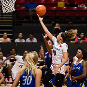24 February 2018: The San Diego State women's basketball team closes out it's home schedule of the regular season Saturday afternoon against San Jose State. San Diego State Aztecs guard Naje Murray (10) drives to the basket for a layup attempts in the second half. The Aztecs beat the Spartans 85-78 at Viejas Arena.<br /> More game action at sdsuaztecphotos.com