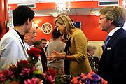Koningin M&aacute;xima woonde het 7500ste door de Stichting Muziek in Huis georganiseerde concert bij, in woonzorgcentrum De Bolder.<br /> <br /> Queen M&aacute;xima attended the 7500ste organized by the Music Foundation House concert in nursing home De Bolder.<br /> <br /> op de foto / On the photo:  Koningin Maxima bij het concert, gegeven door pianoduo Dani&euml;l Wayenberg (84) en Martin Oei (18).<br /> <br /> Queen Maxima at the concert given by piano duo Daniel Wayenberg (84) and Martin Oei (18).
