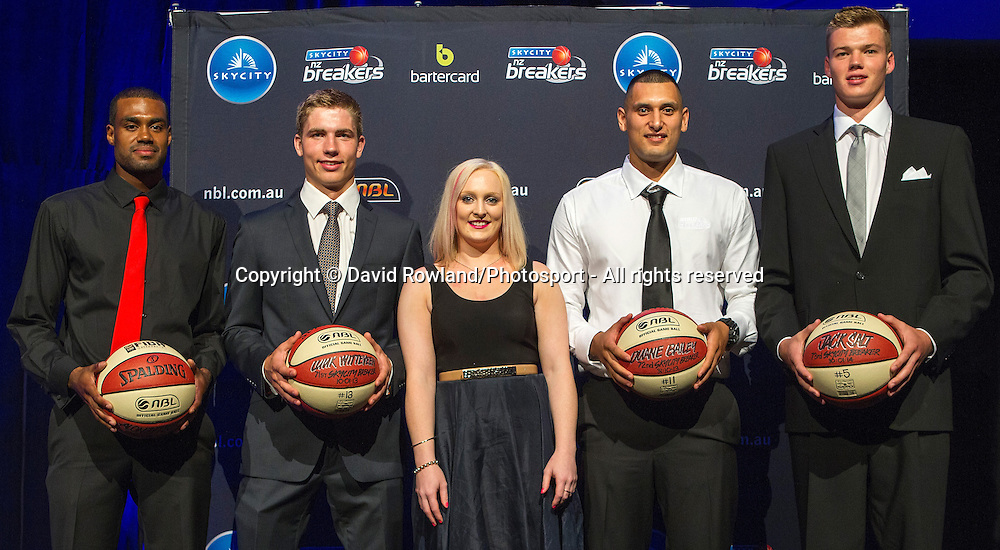 Anna Thompson, Sanofi Consumer Brand Manager with new players Alonzo Burton, Luuk Witteveen, Duane Bailey and Jack Salt at the Skycity Breakers Awards, 2013-14, Skycity Convention Centre, Auckland, New Zealand, Friday, March 28, 2014. Photo: David Rowland/Photosport