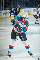 KELOWNA, CANADA - DECEMBER 30: Carsen Twarynski #18 of the Kelowna Rockets warms up with a shot on net against the Victoria Royals on December 30, 2017 at Prospera Place in Kelowna, British Columbia, Canada.  (Photo by Marissa Baecker/Shoot the Breeze)  *** Local Caption ***