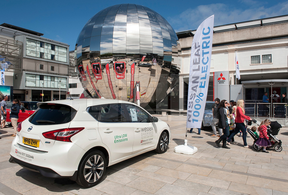 © Licensed to London News Pictures. 06/06/2015. Bristol, UK.  A Nissan Pulsar, at a display of electric, hybrid, and low emission vehicles at Bristol's Millennium Square sponsored by EDF energy. The cars are engineered to produce no or low emissions and pollution to reduce the impact of transport on the environment.  Photo credit : Simon Chapman/LNP