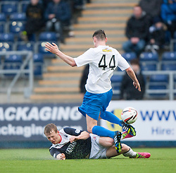 Falkirk's Stephen Kingsley and Morton's Jamie McCormack.<br /> Falkirk 1 v 1 Morton, Scottish Championship game today at The Falkirk Stadium.<br /> &copy; Michael Schofield.