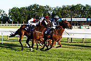 Uther Pendragon ridden by L P Keniry and trained by J S Moore and Walter's Edge ridden by P Cosgrave and trained by George Baker race in the Sky Sports Racing HD Virgin 535 Handicap (Class 5) (4YO plus) - Mandatory by-line: Robbie Stephenson/JMP - 25/06/2020 - HORSE RACING - Bath Racecoure - Bath, England - Bath Races 25/06/20