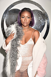 Justine Skye at the Charlotte Simone LFW Autumn Winter 2017 showcase, The Vinyl Factory, 51 Poland Street, London England. 17 February 2017.