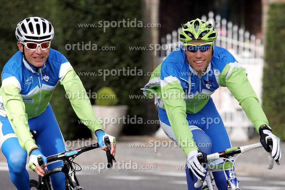VALKENBURG, NETHERLANDS - SEPTEMBER 20: Jani Brajkovic and Kristjan Koren  of Slovenia in action during practice session on day five of the UCI Road World Championships on September 20, 2012 in Valkenburg, Netherlands. (Photo by Marjan Kelner / Sportida)