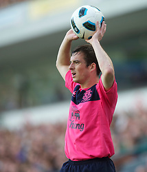 BLACKBURN, ENGLAND - Saturday, August 14, 2010: Everton's Leighton Baines takes a throw-in against Blackburn Rovers during the Premiership match at Ewood Park. (Pic by: David Rawcliffe/Propaganda)