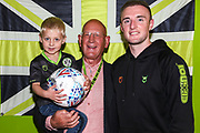 Match sponsor EESI with man of the match Forest Green Rovers Carl Winchester(7) during the EFL Sky Bet League 2 match between Forest Green Rovers and Mansfield Town at the New Lawn, Forest Green, United Kingdom on 19 October 2019.