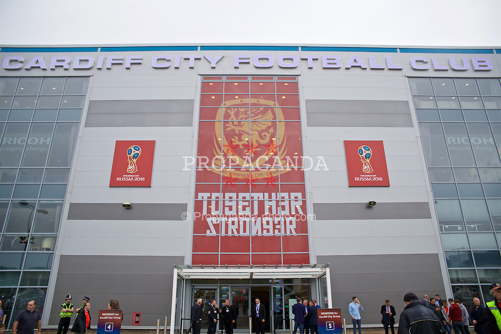 CARDIFF, WALES - Monday, September 5, 2016: New Together Stronger branding outside the stadium as Wales take on Moldova during the 2018 FIFA World Cup Qualifying Group D match at the Cardiff City Stadium. (Pic by David Rawcliffe/Propaganda)
