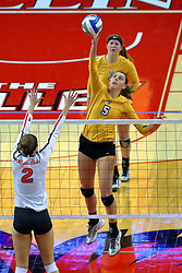 23 November 2017:  Jaelyn Keene defends an attack by Sydney Bronner during a college women's volleyball match between the Valparaiso Crusaders and the Illinois State Redbirds in the Missouri Valley Conference Tournament at Redbird Arena in Normal IL (Photo by Alan Look)