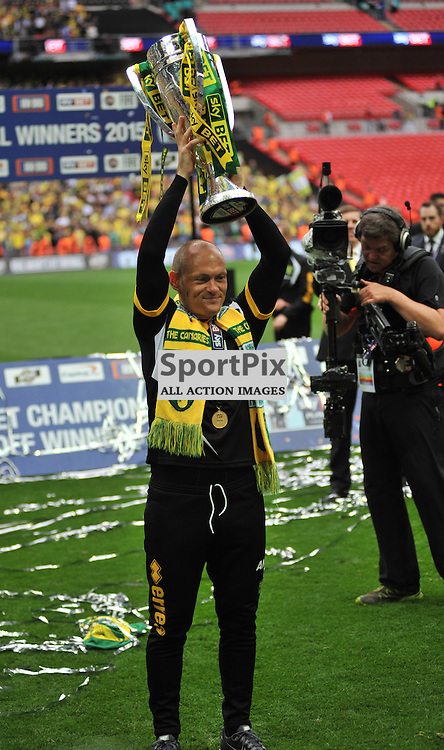 Norwich Manager Alex Neil Celebrates Promotion  at Wembley, Middlesbrough v Norwich, Sky Bet Championship, Wembley Stadium, Monday  25th May 2015