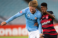 SYDNEY, AUSTRALIA - MARCH 30: Melbourne City defender Harrison Delbridge (4) and Western Sydney Wanderers forward Bruce Kamau (11) fight for the ball at round 23 of the Hyundai A-League Soccer between Western Sydney Wanderers FC and Melbourne City FC on March 30, 2019 at ANZ Stadium in Sydney, Australia. (Photo by Speed Media/Icon Sportswire)