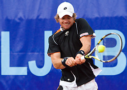 Blaz Kavcic of Slovenia  plays in final match against David Goffin of Belgium during day five of the ATP Challenger  BMW Ljubljana Open 2010, on September 26, 2010,  in TC Ljubljana Siska, Slovenia.  Kavcic defeated Goffin 6:2, 4:6, 7:5. (Photo by Vid Ponikvar / Sportida)