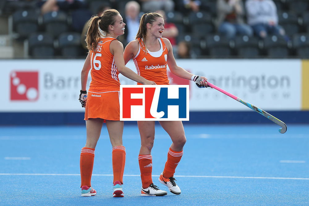 LONDON, ENGLAND - JUNE 21:  Lidewij Welten of Netherlands celebrates after scoring their fourth goal during the FIH Women's Hockey Champions Trophy match between Netherlands and USA at Queen Elizabeth Olympic Park on June 21, 2016 in London, England.  (Photo by Alex Morton/Getty Images)