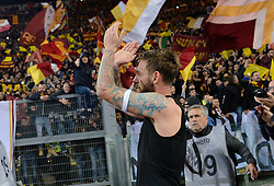 November 18, 2017 - Rome, Italy - Daniele De Rossi celebrates under Curva Sud during the Italian Serie A football match between A.S. Roma and S.S. Lazio at the Olympic Stadium in Rome, on november 18, 2017. (Credit Image: © Silvia Lore/NurPhoto via ZUMA Press)