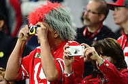 GLENDALE, AZ - JANUARY 01:  Ohio State Buckeyes fans take a photo before the start of the BattleFrog Fiesta Bowl between the Ohio State Buckeyes and the Notre Dame Fighting Irish at University of Phoenix Stadium on January 1, 2016 in Glendale, Arizona.  (Photo by Jennifer Stewart/Getty Images)