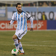 Gonzalo Higuaín, Argentina, in action during the Argentina Vs Ecuador International friendly football match at MetLife Stadium, New Jersey. USA. 15th November 2013. Photo Tim Clayton