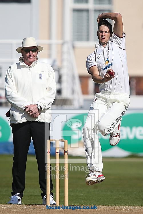 Miles Richardson of Northamptonshire CCC (right) in delivery stride during day two of the Friendly match at the County Ground, Northampton<br /> Picture by Andy Kearns/Focus Images Ltd 0781 864 4264<br /> 03/04/2017
