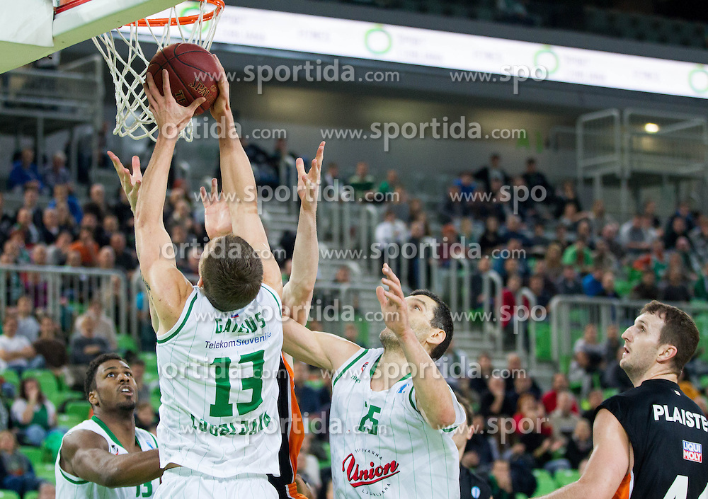 Deividas Gailius of Union Olimpija during basketball match between KK Union Olimpija Ljubljana and Ratiopharm Ulm (GER) in Round 9 of EuroCup 2013/14, on December 11, 2013 in Arena Stozice, Ljubljana, Slovenia. Photo by Vid Ponikvar / Sportida