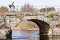 Norway, Sandnes. Skjæveland old bridge crossing the Figgjo river. Completed in 1853.