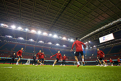 CARDIFF, WALES - Wednesday, October 10, 2018: Wales players during a training session at the Principality Stadium ahead of the International Friendly match between Wales and Spain. (Pic by David Rawcliffe/Propaganda)