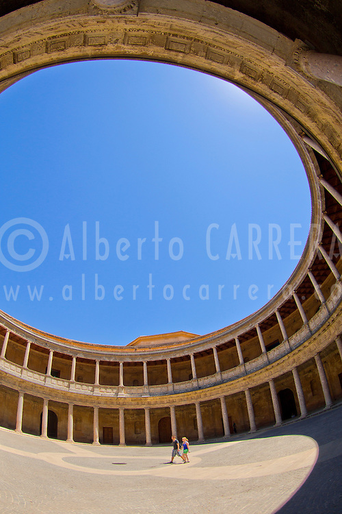 Alberto Carrera, Interior Courtyard, Palace of Charles V, La Alhambra, UNESCO World Heritage Site, Granada, Andaluc&iacute;a, Spain, Europe<br />
