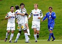 Fotball<br /> 23. August 2009<br /> Adeccoligaen<br /> Varden Amfi<br /> LøvHam - Haugesund 1 - 1<br /> LøvHam feirer Cato Hansens mål<br /> Tryge Nygaard , Haugesund depper<br /> Foto : Astrid M. Nordhaug