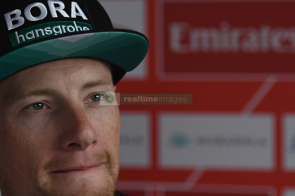 March 2, 2019 - Dubai, United Arab Emirates - Ireland's Sam Bennett from BORA - Hansgrohe Team seen during press conference, after he wins the seventh and final stage - Dubai Stage of the UAE Tour 2019, a 145km with a start from Dubai Safari Park and finish in City Walk area. .On Saturday, March 2, 2019, in Dubai City Walk, Dubai Emirate, United Arab Emirates. (Credit Image: © Artur Widak/NurPhoto via ZUMA Press)