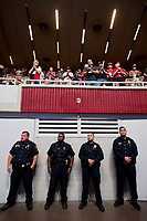 Dallas Police Officers line up in the Kay Bailey Hutchison Convention Center on Friday, May 4, 2018, in Dallas before President Donald Trump addressed the crowd.