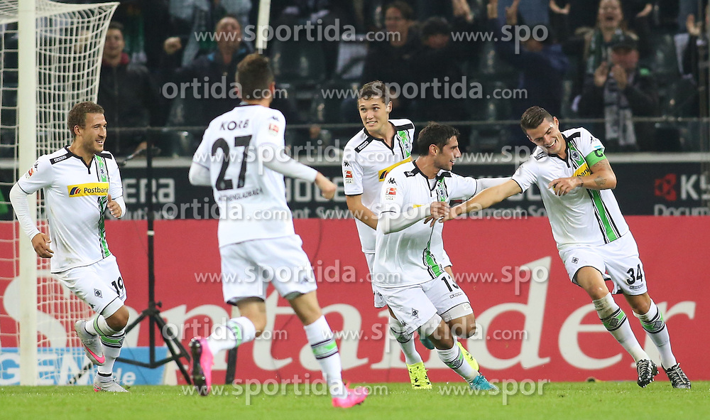 23.09.2015, Stadion im Borussia Park, Moenchengladbach, GER, 1. FBL, Borussia Moenchengladbach vs FC Augsburg, 6. Runde, im Bild vl: Fabian Johnson (Borussia Moenchengladbach #19), Julian Korb (Borussia Moenchengladbach #27), Andreas Christensen (Borussia Moenchengladbach #3), Lars Stindl (Borussia Moenchengladbach #13) und Torschuetze Granit Xhaka (Borussia Moenchengladbach #34) beim Torjubel nach dem Treffer zum 2:0, // during the German Bundesliga 6th round match between Borussia Moenchengladbach and FC Augsburg at the Stadion im Borussia Park in Moenchengladbach, Germany on 2015/09/23. EXPA Pictures &copy; 2015, PhotoCredit: EXPA/ Eibner-Pressefoto/ Schueler<br /> <br /> *****ATTENTION - OUT of GER*****