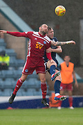 10th August 2019; Dens Park, Dundee, Scotland; SPFL Championship football, Dundee FC versus Ayr; Michael Moffat of Ayr United competes in the air with Jordan McGhee of Dundee