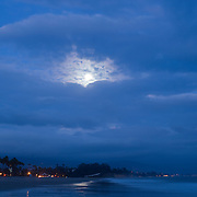 Moonrise on the beach. Santa Barbara, California, USA.