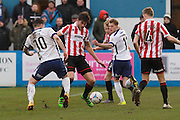 Andy Cook and Cameron Burgess during the Vanarama National League match between Barrow and Cheltenham Town at Holker Street, Barrow, United Kingdom on 6 February 2016. Photo by Antony Thompson.