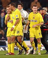 Fotball<br /> England 2004/2005<br /> Foto: SBI/Digitalsport<br /> NORWAY ONLY<br /> <br /> Barclays Premiership<br /> Crystal Palace v Charlton Athletic<br /> 5/12/2004<br /> <br /> Charlton's Dennis Rommedahl celebrates his last minute winner with team mates