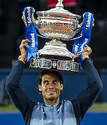 April 24, 2016 - Barcelona, Catalonia, Spain -<br /> <br />  RAFAEL NADAL of Spain raises the cup after winning the final of the 'Barcelona Open Banc Sabadell' 2016 against K. Nishikori. Nadal won 6:4, 7:5 <br /> ©Exclusivepix Media
