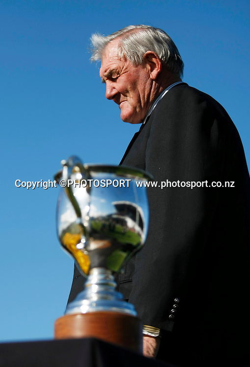 Sir Brian Lochore with the Lochore Cup. South Canterbury v Poverty Bay at Alpine Energy Stadium, Timaru, South Canterbury. Saturday 8 October 2011. Photo : Joseph Johnson/photosport.co.nz