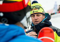 "Stefan Hadalin (SLO) and Klemen Bergant, coach of Slovenia after the 1st Run of FIS Alpine Ski World Cup 2017/18 Men's Slalom race named ""Snow Queen Trophy 2018"", on January 4, 2018 in Course Crveni Spust at Sljeme hill, Zagreb, Croatia. Photo by Vid Ponikvar / Sportida"