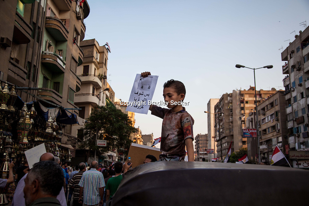 "A young anti-Morsi demonstrator holds a poster saying ""but look at the revolution you sheep"" in reference to Muslim Brotherhood supporters."