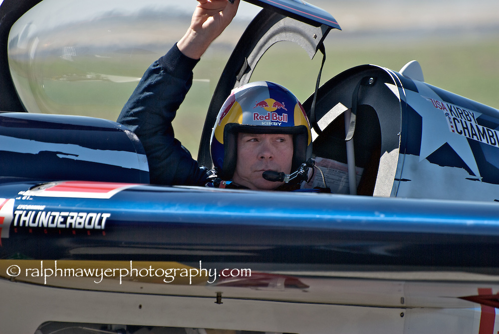 Kirby Chambliss of the Red Bull aerobatic team at the 8th Annual Moonlight Fund airshow, New Braunfels, Texas, October 20, 2007. The Moonlight Fund provides support services for military and civilian burn victims and their families.