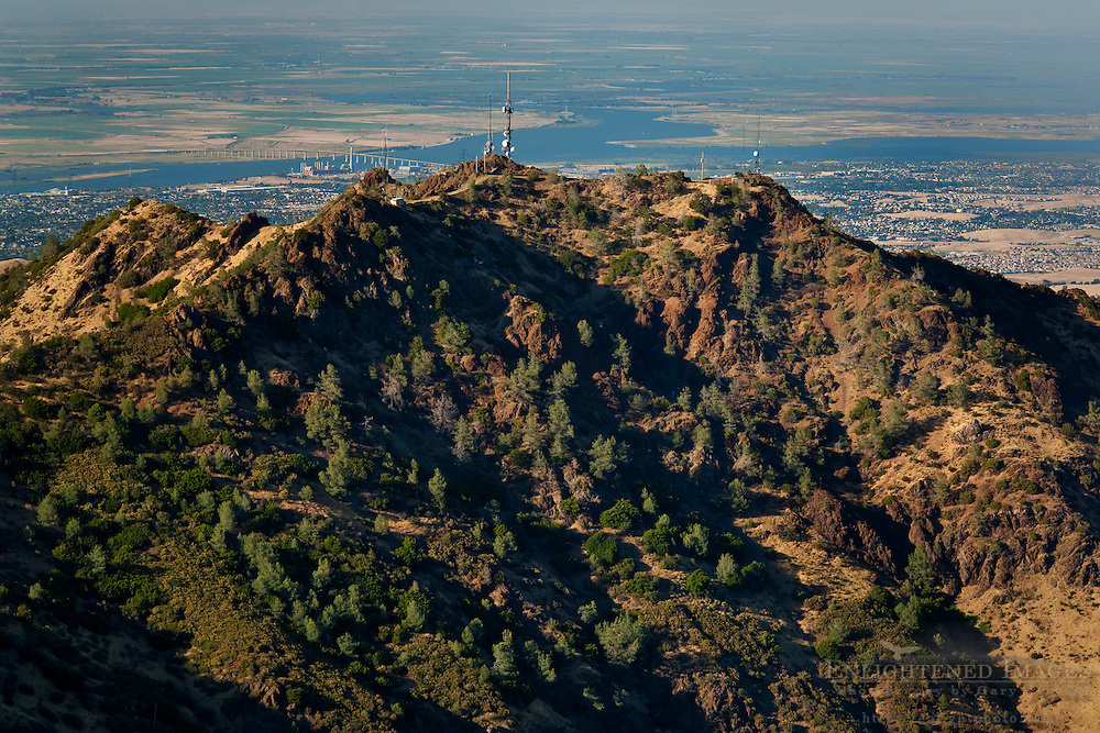 Overlooking North Peak and the Sacramento River from the summit of Mount Diablo; Mount Diablo State Park; California