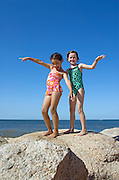 Girl friends hamming it up at the beach, Paines Beach, Cape Cod MA